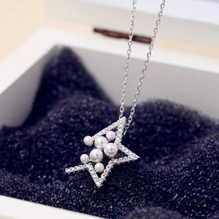Love Generation - Faux-Pearl Cutout Star Short Necklace