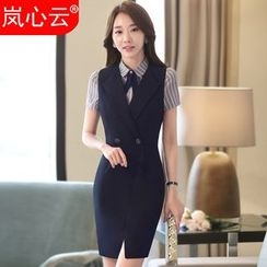 Skyheart - Double-Breasted Sleeveless Sheath Dress / Striped Dress Shirt / Blazer