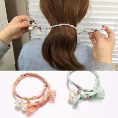 Annamae - Beaded Printed Bun Maker Hair Tie