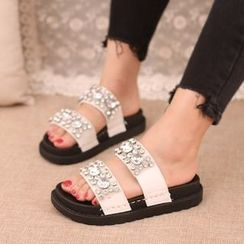 IYATO - Rhinestone Slide Sandals