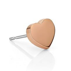 Kenny & co. - 14K Rose Gold Plated Heart Shape Steel Earring (single)