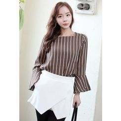 Dalkong - Bell-Sleeve Striped Top