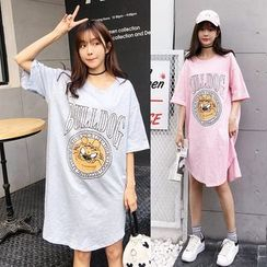 Au Naturel - Dog Print Short Sleeve T-Shirt Dress