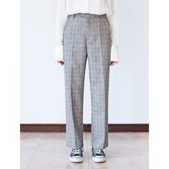 FROMBEGINNING - Check Straight-Cut Pants