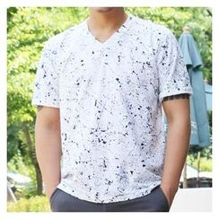 Ohkkage - Short-Sleeve Pattern-Printed T-Shirt
