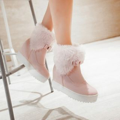 Pastel Pairs - Bow Hidden Wedge Short Boots