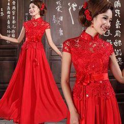 Bridal Workshop - Cap-Sleeve Mandarin-Collar A-Line Evening Gown