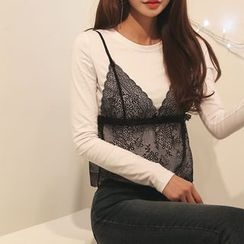 DABAGIRL - Set: Lace Bustier Top + Cotton T-Shirt