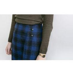 FROMBEGINNING - Band-Waist Check Wool Blend Midi Skirt