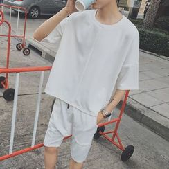 Bay Go Mall - Set: Plain Elbow-Sleeve T-shirt + Shorts