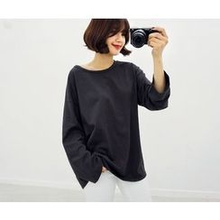 HOTPING - Round-Neck Oversized Cotton T-Shirt