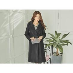 UUZONE - Faux-Pearl Button Wool Blend Long Coat