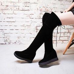 Pastel Pairs - Platform Hidden Wedge Over The Knee Boots