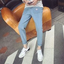 JUN.LEE - Washed Tapered Jeans