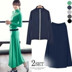 ANNINA - Set: Turtle-Neck Zip-Up Jacket + Band-Waist Maxi Skirt
