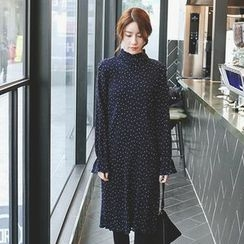 mimi&didi - Frill-Neck Polka-Dot Crinkled Midi Dress