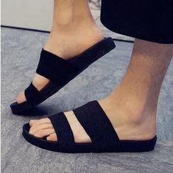NOVO - Plain Elastic Flat Slide Sandals