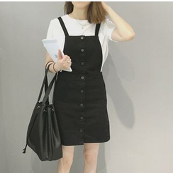 Denim Fever - Buttoned Denim Pinafore Dress