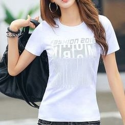 Zyote - Letter Short-Sleeve T-shirt