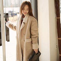 Seoul Fashion - Brushed-Fleece Lined Faux-Suede Jacket
