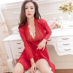 Charming Lover - Set: Lace Nightdress + Robe