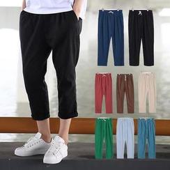 Chuoku - Linen Cropped Harem Pants