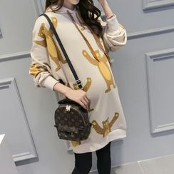 Viana Smile - Maternity Bear Print Hooded Pullover Dress
