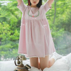 Moricode - Embroidered Short-Sleeve Pleated Babydoll A-Line Dress