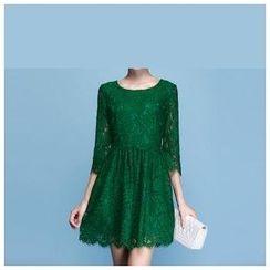 Strawberry Flower - 3/4-Sleeve Lace Dress