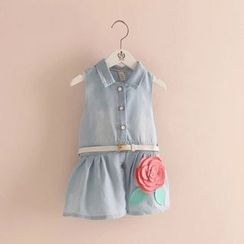 Seashells Kids - Kids Floral Sleeveless Denim Dress