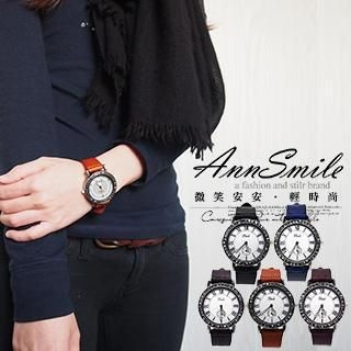 AnnSmile - Faux-Leather Strap Watch
