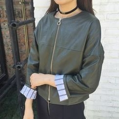 Dasim - Faux Leather Zip Jacket