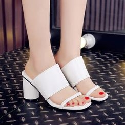 CITTA - Block Heel Mule Sandals