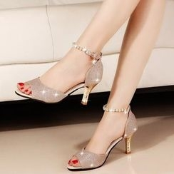 Sunsteps - Faux Pearl High Heel Sandals