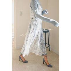 PPGIRL - Spaghetti-Strap Laced Long Dress