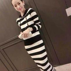 Ringnor - Set: Striped Hooded Top + Pencil Skirt