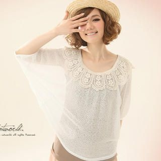 CatWorld - Crocheted-Collar Dolman-Sleeve Knit Top
