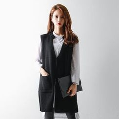 FASHION DIVA - Stand-Collar One-Button Long Knit Vest