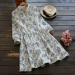 YOYO - Long-Sleeve Floral Shirtdress