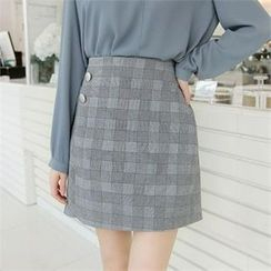 ZIZIBEZIRONG - Check Pencil Skirt