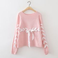 ninna nanna - Lace Up Knit Top