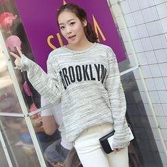 CLICK - Cotton Blend Melange Lettering T-Shirt