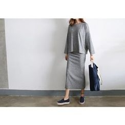 Hello sweety - Set: Round-Neck T-Shirt + Slit-Hem Maxi Skirt