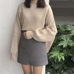 ALIN STYLE - Mock Neck Side Slit Sweater