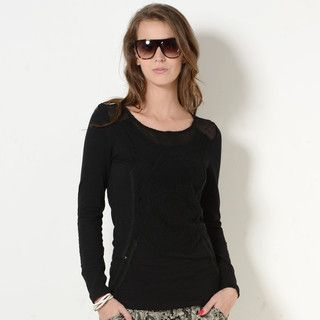 59 Seconds - Crochet Overlay Panel Long-Sleeved T-Shirt