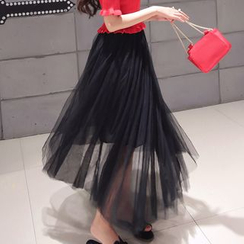 Princess Home - Sheer Panel Maxi Skirt