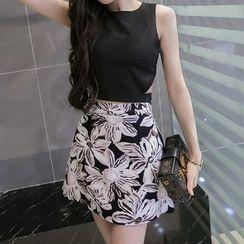 ZAPPA - Set: Cutout Sleeveless Top + Floral Print Mini Skirt