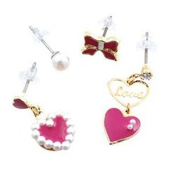 Fit-to-Kill - 4 pieces ribbon & heart with pearls earrings