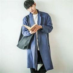 TOMONARI - Notched-Lapel Open-Front Long Coat
