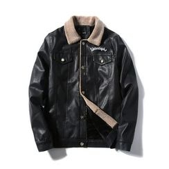 Blueforce - Lettering Faux Leather Jacket